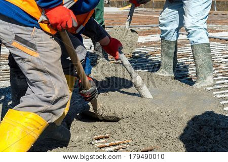 Concrete Pouring On The Construction Site