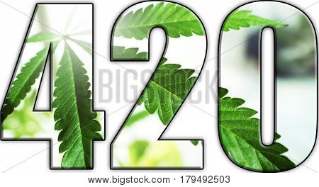 Cannabis 420 Logo With Marijuana Leaf Inside High Quality