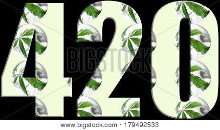 Marijuana 420 Logo With Marijuana Leafs Inside High Quality