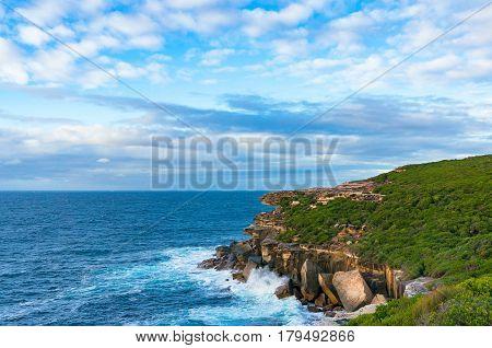 Ocean Coastline On Sunny Day