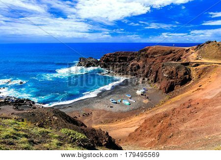 Unique colorful beaches of volcanic Lanzarote. Canary islands