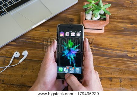 CHIANG MAI THAILAND - FEB 03 2017: A man hand holding iphone with all app of instagram application. Instagram is largest and most popular photograph social networking.