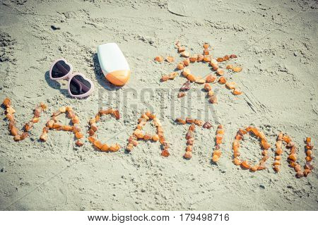 Vintage Photo, Word Vacation And Shape Of Sun, Accessories For Sunbathing At Beach, Summer Time