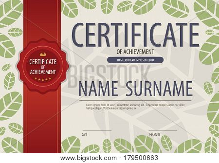Blank Certified Green Leaves Natural Concept Border Template Vector Illustration. EPS 10