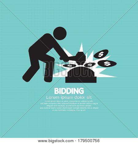 Black Symbol Bidding Auction Sign Vector Illustration. EPS 10