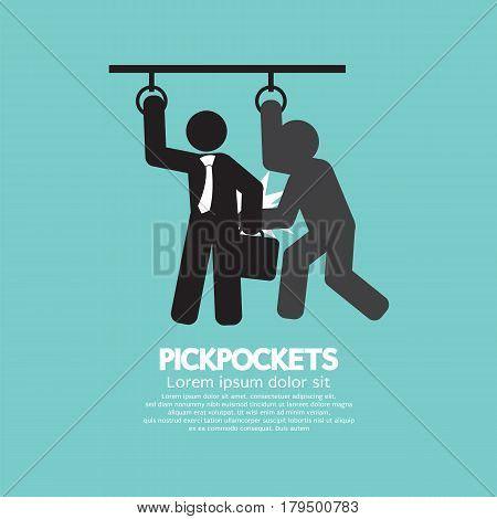 Pickpocketer Steal Things From Bag Of Businessman In Public Transport Black Symbol Vector Illustration. EPS 10