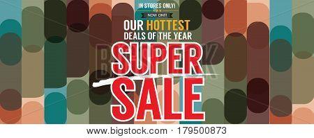 Super Sale Hottest Deal Promotion Sale Wide Banner Vector Illustration. EPS 10