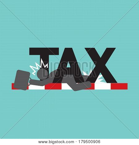 Fail In Tax Tax Trouble Concept Black Symbol Vector Illustration. EPS 10