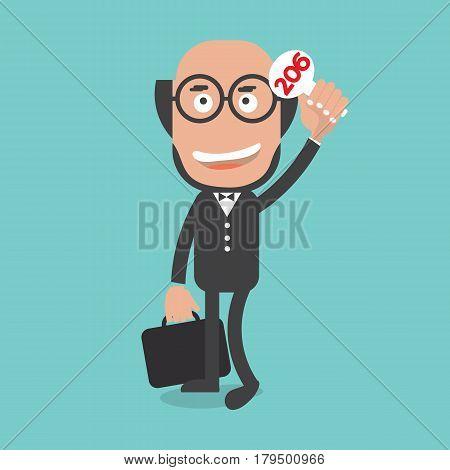 Businessman Show Bidding Price Vector Illustration. EPS 10
