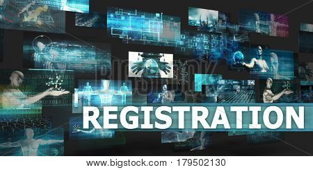 Registration Presentation Background with Technology Abstract Art 3D Illustration Render