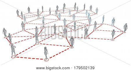 Business Networking on the Internet on White 3D Illustration Render