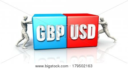 GBP USD Currency Pair Fighting in Blue Red and White Background 3D Illustration Render
