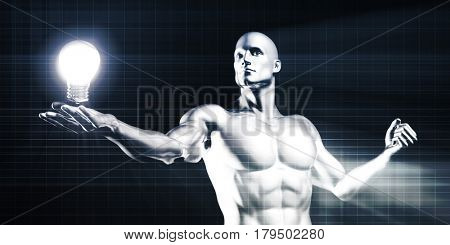 Disruptive Technology Discovery with Man Lifting an Invention Idea 3D Illustration Render poster