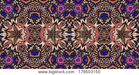 Kaleidoscopic multicolor seamless pattern is computer graphics and it can be used in the design of textiles in the printing industry in a variety of design projects.