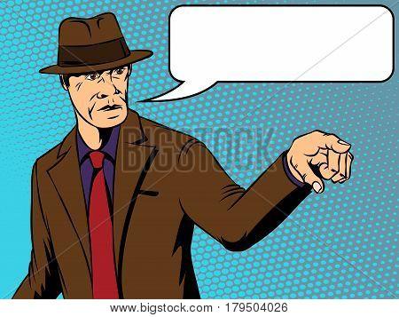 Man in a hat shows aggression. Retro comics. Vector illustration