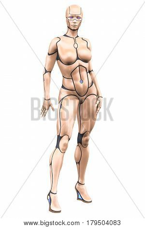 Portrait of topless cyborg girl with plastic skin isolated over white background