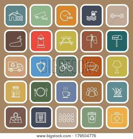 Village line flat icons on brown background, stock vetor