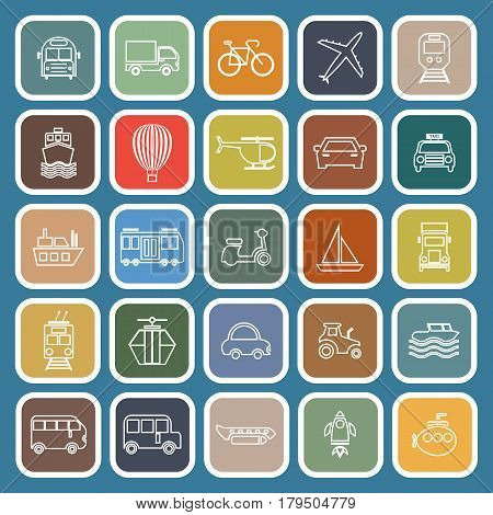 Transportation line flat icons on blue background, stock vetor
