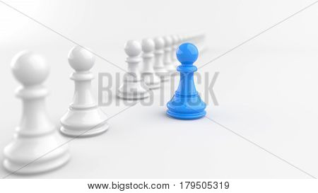 Leadership concept blue pawn of chess standing out from the crowd of white pawns on white background. 3D rendering.