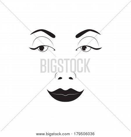 Girl emotion face laugh cartoon vector illustration and woman silhouette emoji icon symbol character human expression sign female avatar tongue feeling. Facial mood doodle design black whithe line.