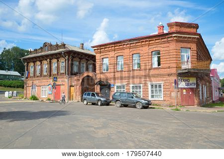 MYSHKIN, RUSSIA - JULY 13, 2016: The ancient merchant estate in the city of Myshkin. Now here the distrit prosecutor's office and the House of children's creativity are located