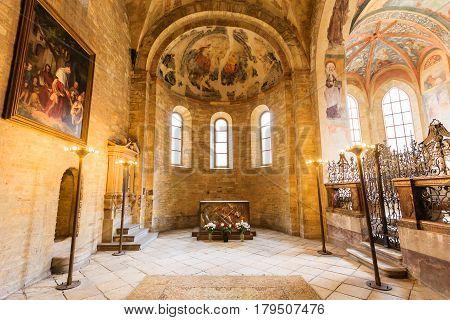 PRAGUE, CZECH REPUBLIC - APRIL 14, 2016: St. George Basilica on April 14, 2016 at Prague Czech Rep. St. George's Basilica is the oldest surviving church building within Prague Castle.