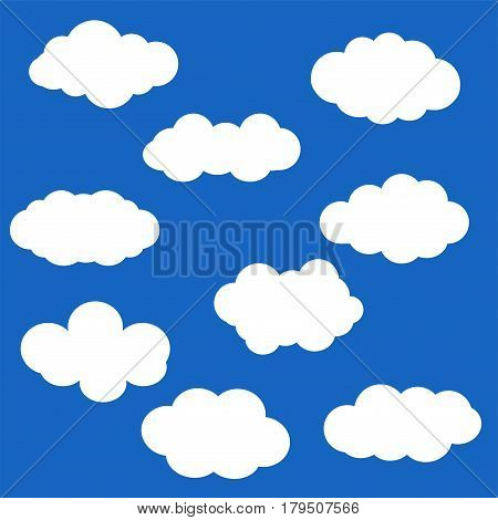 Set of Cloud Icons in trendy flat style isolated on blue background. Vector illustration of clouds collection