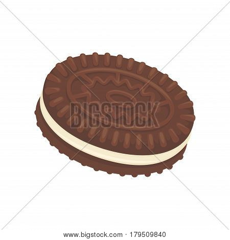 Sandwich chocolate biscuit, filled with vanilla cream, isolated on white. Tasty cracker with ornamental cookies vector illustration, fresh pastry in flat design. Patisserie delicious confectionery