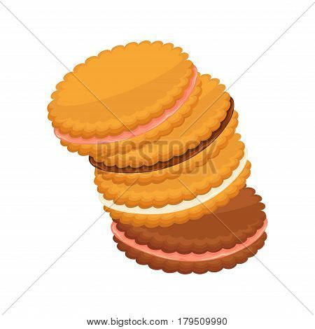 Sandwich biscuits, filled with cocoa, strawberry and vanilla cream isolated on white. Heap of crackers with colorful fillings. Vector illustration, fresh pastry in flat design patisserie cookies