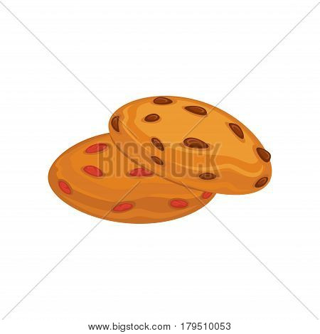 Biscuits with pieces of chocolate and caramel isolated on white background. Tasty cracker vector illustration, fresh pastry in flat design. Patisserie cookies, delicious confectionary gateau logo