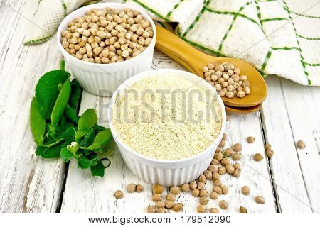 Flour Chickpeas In Bowl On Light Board
