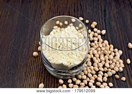 Flour Chickpeas In Glassful On Board