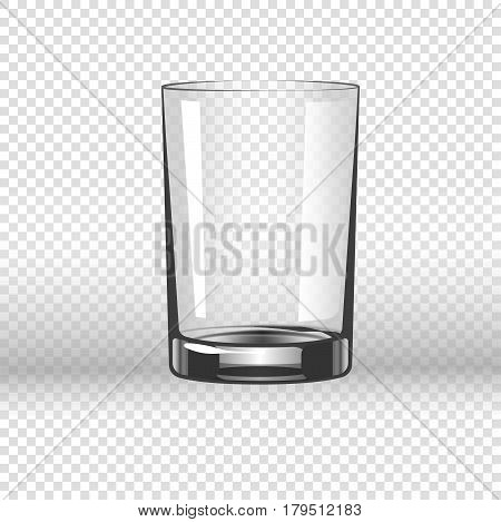 Clear glassy cup for water, empty drinking glass isolated on transparent background. Vector illustration in flat design of short vessel with thick bottom made of fragile material for pouring liquids.