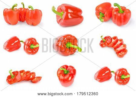 Collection of bulgarian peppers isolated on a white background with clipping path