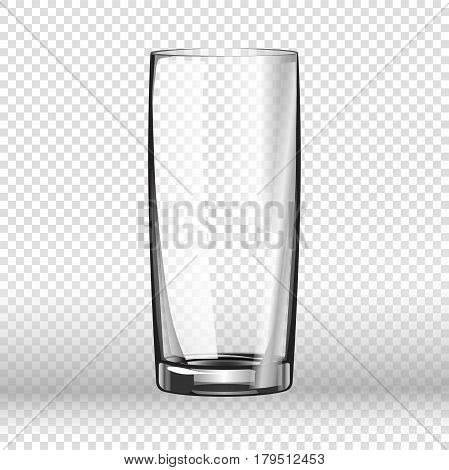 Realistic long drinking glass isolated on transparent background. Tableware element in flat style, vector illustration of empty aqua vessel with thick bottom, glassware icon for liquid beverages