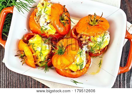 Tomatoes Stuffed With Rice And Meat In Brazier On Board Top