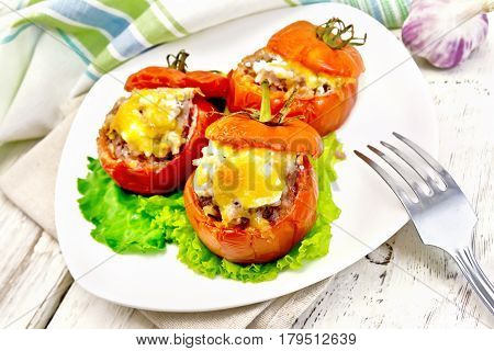 Tomatoes Stuffed With Rice And Meat In Plate On Board