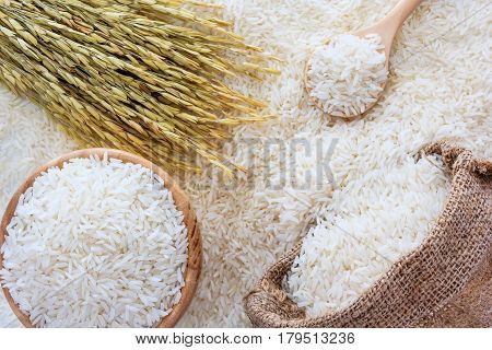 White rice in bowl and a bag a wooden spoon and rice plant on white rice background Top view with copy space