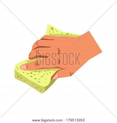 Human hand holding sponge tool isolated on white. Cleaning aid consisting of soft, porous material in household duties concept logotype. Vector illustration in flat design of arm keeping special rag