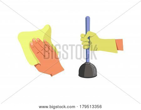 Human hand holding duster for cleaning and in protective glove with plunger isolated on white. Household duties concept logotype. Vector illustration in flat design of arm with clearance equipment