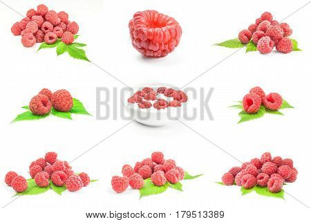 Set of raspberries isolated on a white background with clipping path