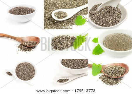 Group of chia seeds isolated on white
