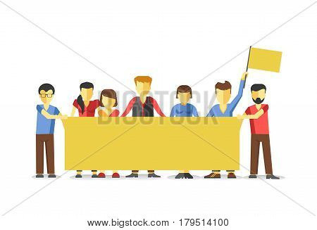 Striking crowd holding empty yellow banner. Vector illustration of group of male and female people standing in line, protesting against something. Men and women on demonstration in flat style