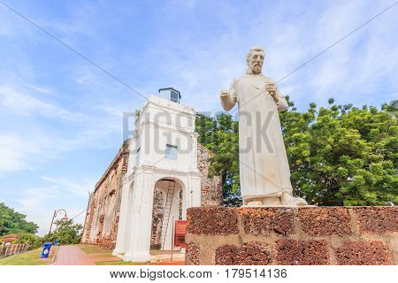 MALACCA MALAYSIA - AUGUST 12: St. Paul's church facade on August 12 2016 in Malacca Malaysia.St.Paul's church was built in 1521 by the Portuguese.It was used as a fortress for a period of time.