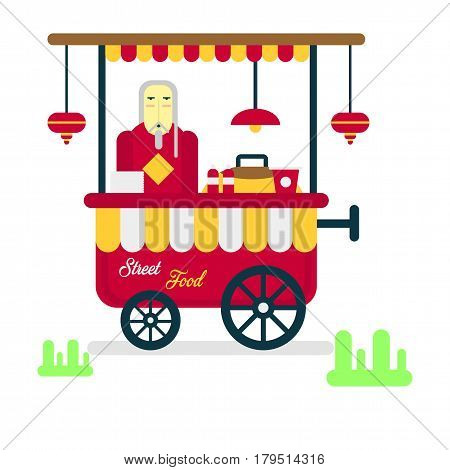 Street food trailer with vendor selling hot sausages isolated on white background. Shop on wheels in flat design cartoon style. Salesman sell popcorn at truck. Fastfood concept vector illustration