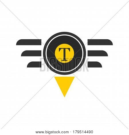 Taxi logotype in round shape with triangle and lines isolated on white. Vector illustration of taxiing company logo design in flat style, delivery passengers service in yellow and black colors.