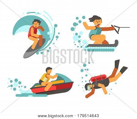 Summer water healthy activities vector poster on white. Collection of graphic pictures with people doing scuba diving, riding on jet ski, water skiing and just surfing. Active recreation template