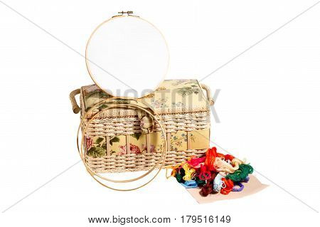 Needlework supplies. Embroidery, sewing accessories - canvas, hoop, thread mouline, isolated on a white background poster