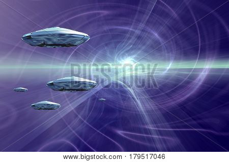 Spaceships in hyperspace.  3D Rendering