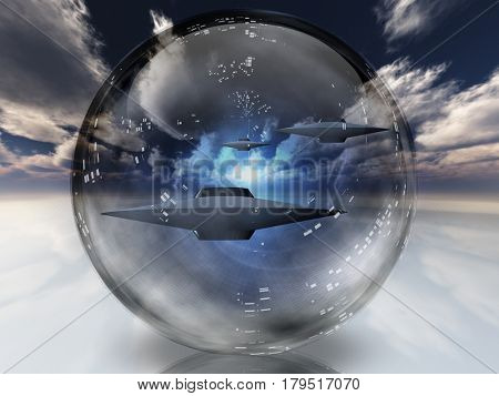 Flying saucers inside bubble.  3D Rendering